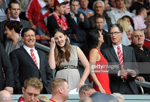 Liverpool owners Tom Werner Linda Pizzuti and John W Henry during the Barclays Premier League match between Liverpool and Sunderland at Anfield on...