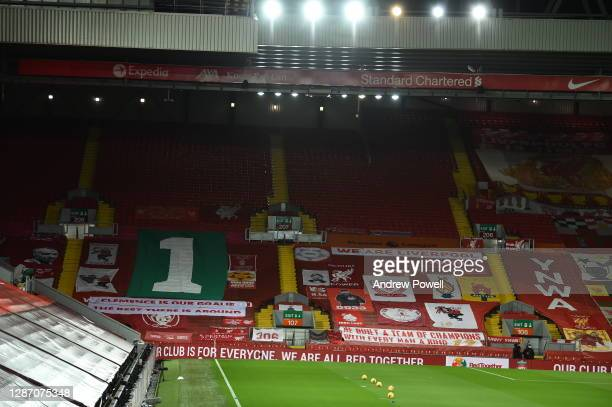 Liverpool pay Tribute to former goalkeeper Ray Clemence on the Kop before the Premier League match between Liverpool and Leicester City at Anfield on...