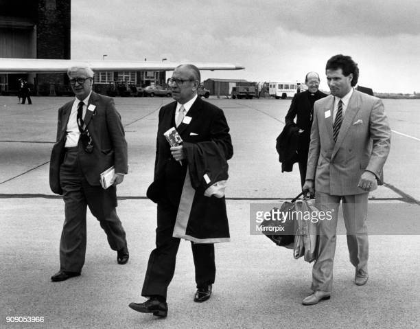Liverpool Peace Delegation to Turin Italy 17th June 1985 Left to Right Councillors John Hamilton Hugh Dalton and Derek Hatton board plane at...