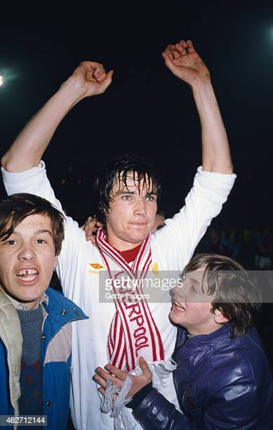 Liverpool player Alan Hansen celebrates with some young fans after scoring the winning goal in the 1981 League Cup Final replay against West Ham...