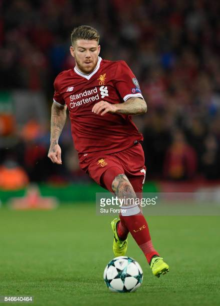 Liverpool player Alberto Moreno in action during the UEFA Champions League group E match between Liverpool FC and Sevilla FC at Anfield on September...