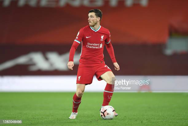 Liverpool player Andrew Robertson in action during the Premier League match between Liverpool and Sheffield United at Anfield on October 24, 2020 in...