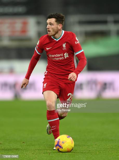 Liverpool player Andrew Robertson in action during the Premier League match between Newcastle United and Liverpool at St. James Park on December 30,...