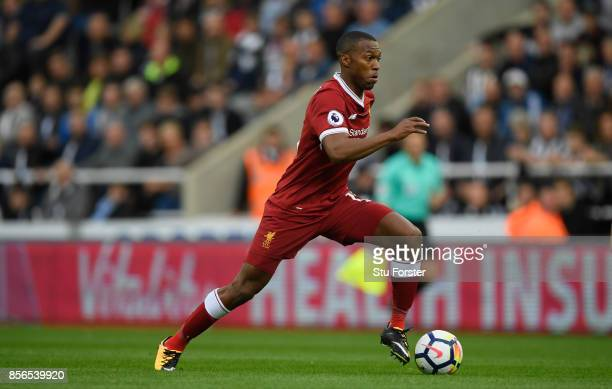 Liverpool player Daniel Sturridge in action during the Premier League match between Newcastle United and Liverpool at St James Park on October 1 2017...