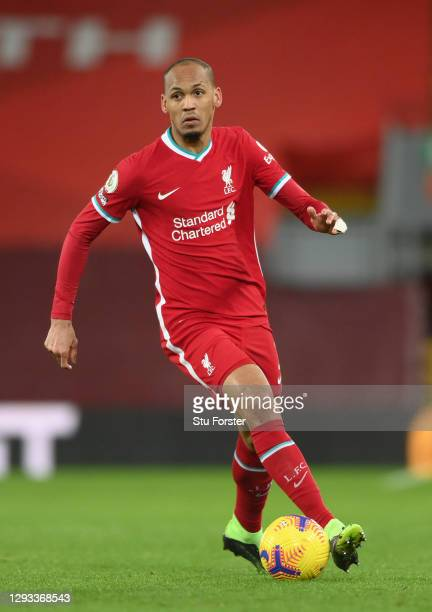 Liverpool player Fabinho in action during the Premier League match between Liverpool and West Bromwich Albion at Anfield on December 27, 2020 in...
