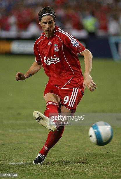 Liverpool player Fernando Torres in action against Portsmouth in Hong Kong 27 July 2007 Portsmouth won 43 after a penalty shoot out to win the...