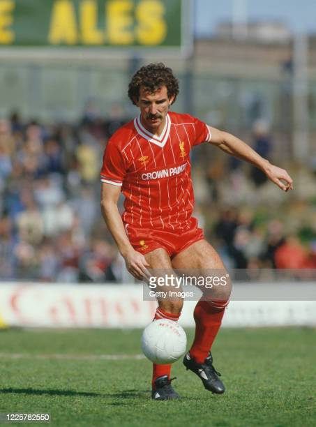 Liverpool player Graeme Souness on the ball wearing the home Crown Paints sponsored shirt during a First Division match against Notts County at...