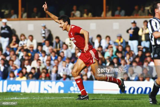 Liverpool player Ian Rush celebrates after scoring during the League Division One match between Newcastle United and Liverpool at St James' Park on...