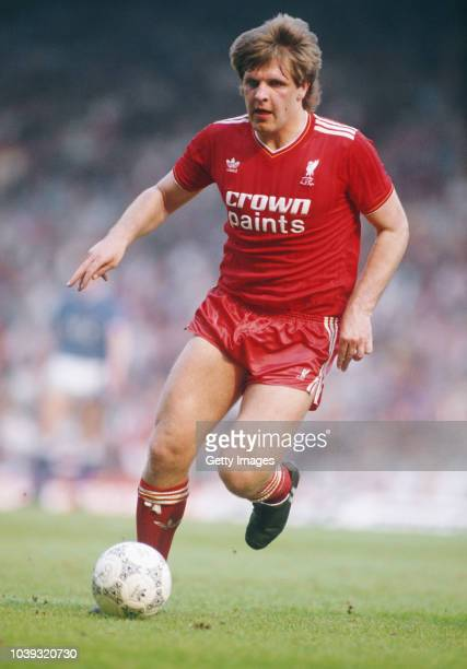 Liverpool player Jan Molby in action during a First Divison match between Liverpool and Everton at Aanfield on April 25 1987 in Liverpool England