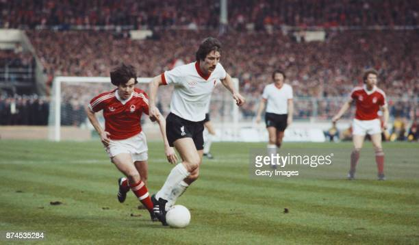 Liverpool player Jimmy Case beats John Robertson of Nottingham Forest to the ball during the 1978 League Cup Final at Wembley Stadium on March 18...