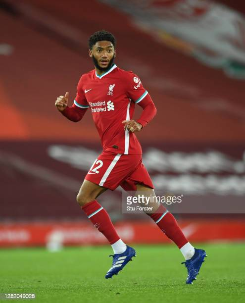 Liverpool player Joe Gomez in action during the Premier League match between Liverpool and Sheffield United at Anfield on October 24 2020 in...