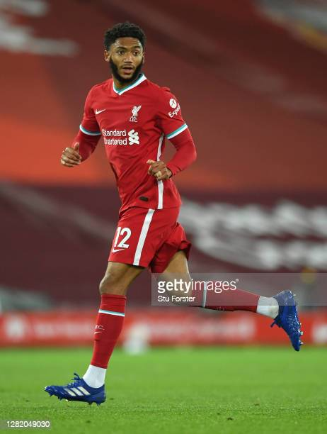Liverpool player Joe Gomez in action during the Premier League match between Liverpool and Sheffield United at Anfield on October 24, 2020 in...