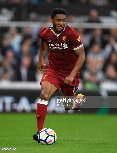 Liverpool player Joe Gomez in action during the Premier League match between Newcastle United and Liverpool at St James Park on October 1 2017 in...