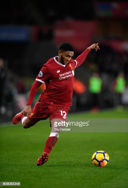 Liverpool player Joe Gomez in action during the Premier League match between Swansea City and Liverpool at Liberty Stadium on January 22 2018 in...