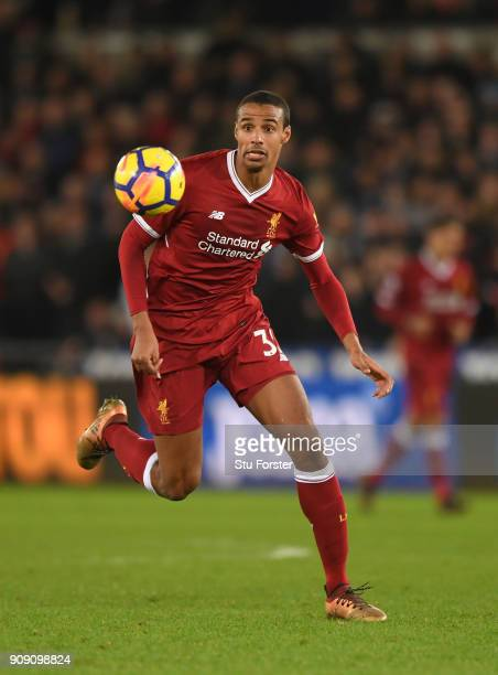 Liverpool player Joel Matip in action during the Premier League match between Swansea City and Liverpool at Liberty Stadium on January 22 2018 in...
