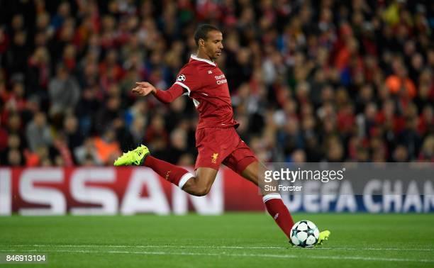 Liverpool player Joel Matip in action during the UEFA Champions League group E match between Liverpool FC and Sevilla FC at Anfield on September 13...
