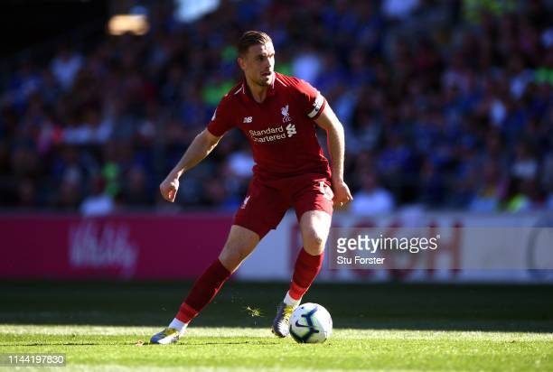 Liverpool player Jordan Henderson in action during the Premier League match between Cardiff City and Liverpool FC at Cardiff City Stadium on April 21...