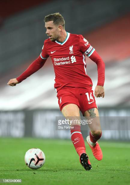 Liverpool player Jordan Henderson in action during the Premier League match between Liverpool and Sheffield United at Anfield on October 24, 2020 in...