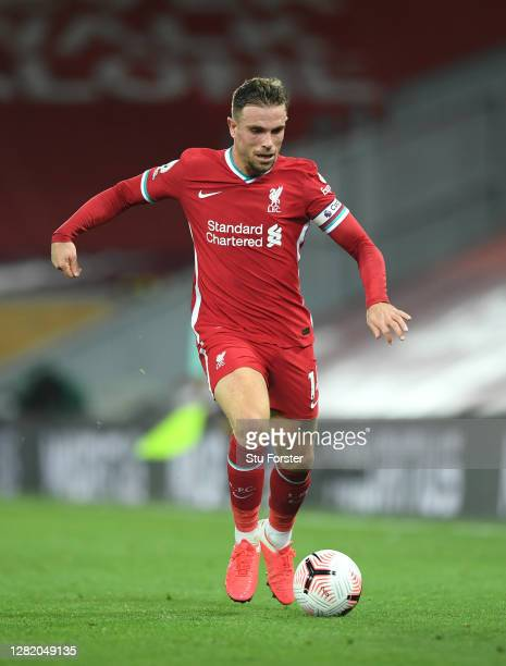 Liverpool player Jordan Henderson in action during the Premier League match between Liverpool and Sheffield United at Anfield on October 24 2020 in...