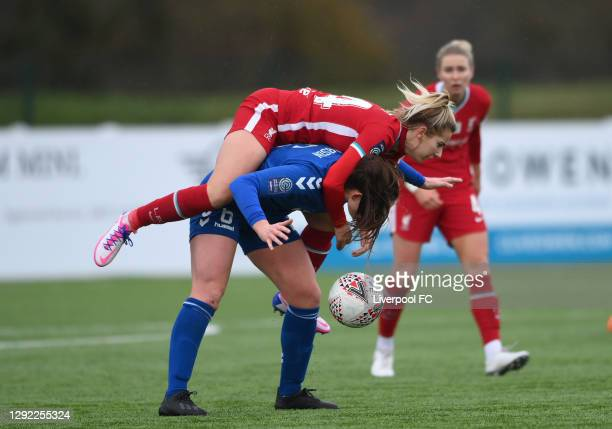 Liverpool player Kirsty Linnett challenges Sarah Robson of Durham during the Barclays FA Women's Championship match between Durham and Liverpool at...