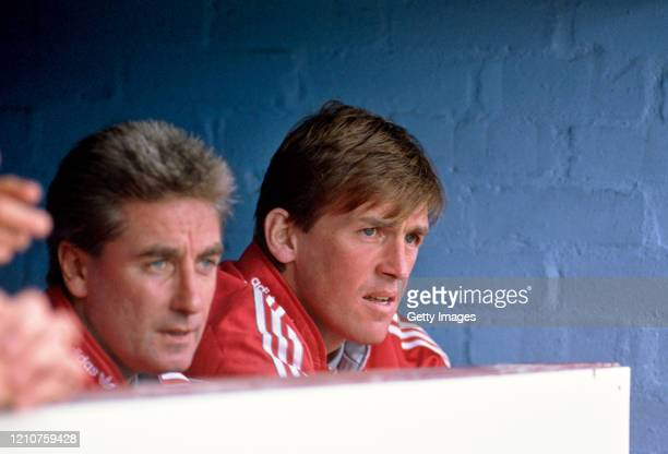 Liverpool player manager Kenny Dalglish and coach Roy Evans look on from the bench during a First Division match against Aston Villa at Villa Park on...