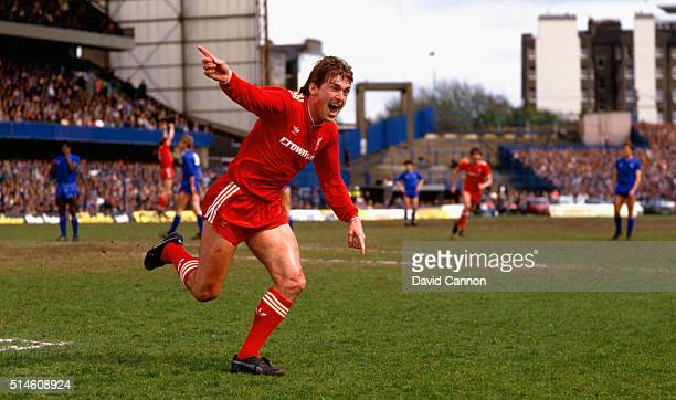 Liverpool player manager Kenny Dalglish celebrates after scoring the winning goal that gives Liverpool the Division One Championship for the 1985/86...