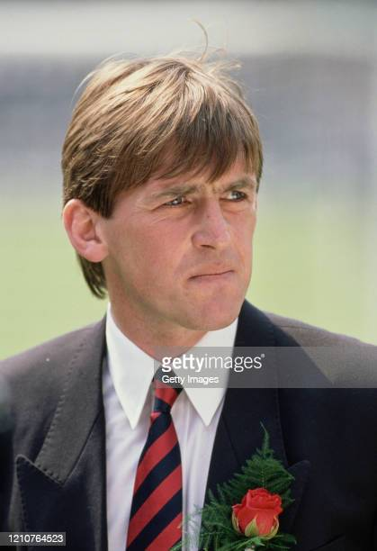 Liverpool player manager Kenny Dalglish looks on prior to the 1988 FA Cup Final against Wimbledon at Wembley Stadium on May 14, 1988 in London,...