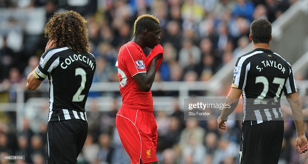 Liverpool player Mario Balotelli (c) reacts during the Barclays Premier League match between Newcastle United and Liverpool at St James' Park on November 1, 2014 in Newcastle upon Tyne, England.