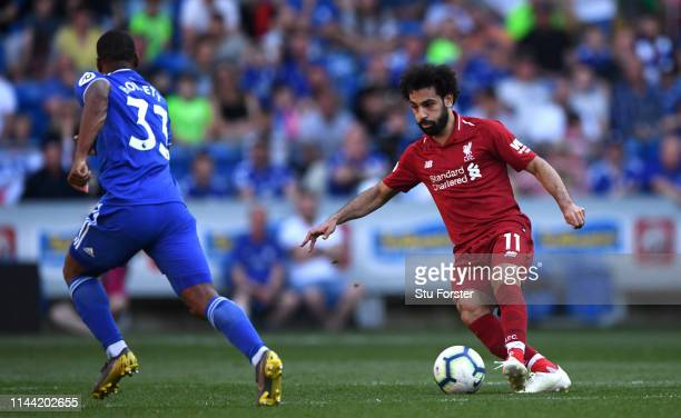 Liverpool player Mohamed Salah in action during the Premier League match between Cardiff City and Liverpool FC at Cardiff City Stadium on April 21...