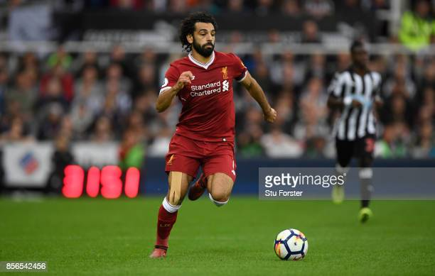 Liverpool player Mohamed Salah in action during the Premier League match between Newcastle United and Liverpool at St James Park on October 1 2017 in...