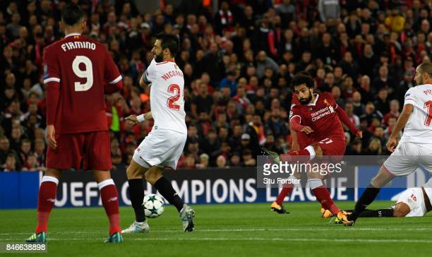 Liverpool player Mohamed Salah scores the second Liverpool goal during the UEFA Champions League group E match between Liverpool FC and Sevilla FC at...
