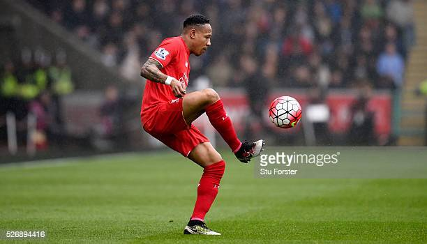 Liverpool player Nathaniel Clyne in action during the Barclays Premier League match between Swansea City and Liverpool at The Liberty Stadium on May...