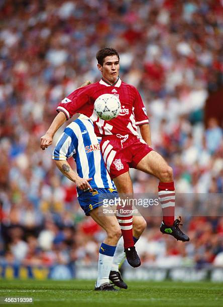 Liverpool player Nigel Clough in action during a Premier League match between Liverpool and Sheffield Wednesday at Anfield on August 14 1993 in...