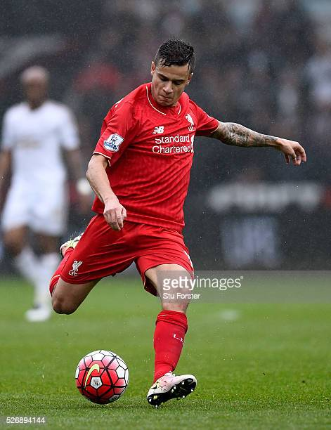 Liverpool player Phillippe Coutinho in action during the Barclays Premier League match between Swansea City and Liverpool at The Liberty Stadium on...