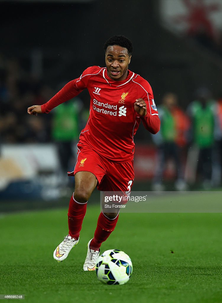 Liverpool player Raheem Sterling in action during the Barclays Premiership match between Swansea City and Liverpool at Liberty Stadium on March 16, 2015 in Swansea, Wales.