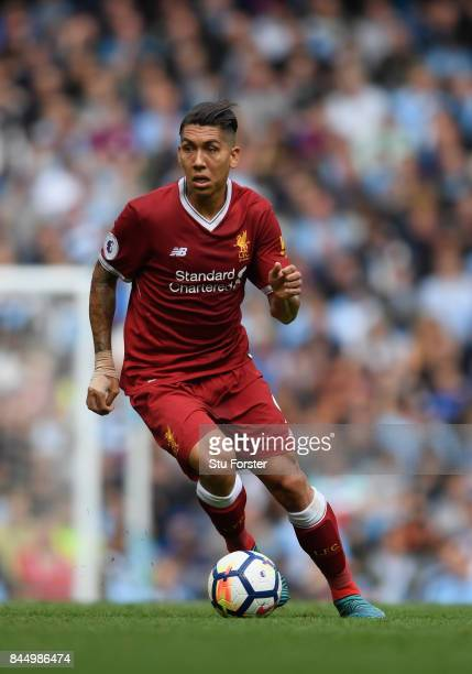 Liverpool player Roberrto Firmino in action during the Premier League match between Manchester City and Liverpool at Etihad Stadium on September 9...