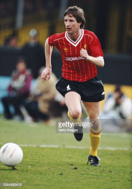 Liverpool player Ronnie Whelan in action during a League Division One match between Watford and Liverpool at Vicarage Road on March 31 1984 in...