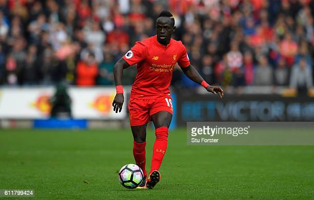 Liverpool player Sadio Mane in action during the Premier League match between Swansea City and Liverpool at Liberty Stadium on October 1 2016 in...