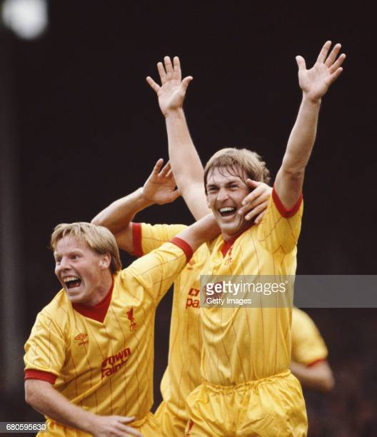 Liverpool player Sammy Lee congratulates Kenny Dalglish after Dalglish had scored the opening goal in a First Divsion match against Arsenal at...