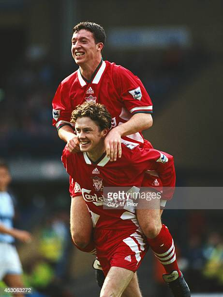 Liverpool player Steve McManaman and Robbie Fowler celebrate a goal during a Premier League match between Manchester City and Liverpool at Maine Road...