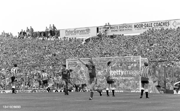Liverpool player Steve Nicol celebrates as the Newcastle defence and the Gallowgate enders look on during a 4-1 First Division Liverpool win at St...