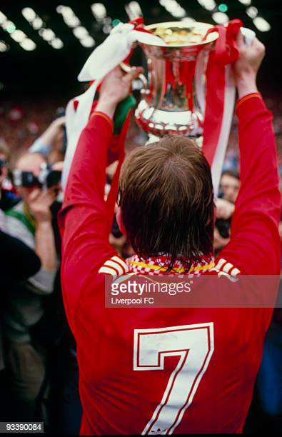Liverpool player/manager Kenny Dalglish celebrates being the FA Cup winners after the FA Cup Final between Liverpool and Everton held on May 10 1986...