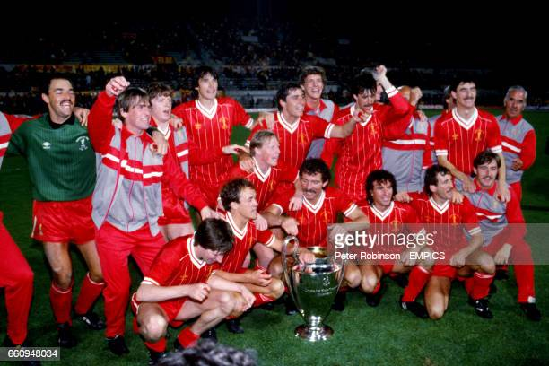 Liverpool players and coaching staff celebrate with the European Cup Bruce Grobbelaar Kenny Dalglish Steve Nicol Alan Hansen Michael Robinson Gary...