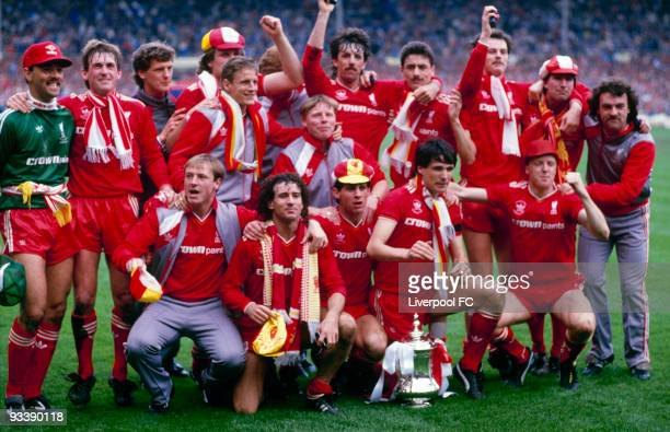 Liverpool players celebrate being the FA Cup winners after the FA Cup Final between Liverpool and Everton held on May 10 1986 at Wembley Stadium in...
