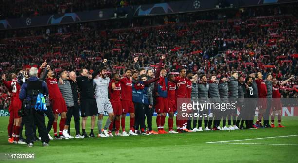 Liverpool players celebrate following their sides victory in the UEFA Champions League Semi Final second leg match between Liverpool and Barcelona at...