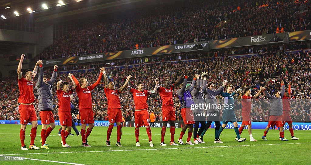 Liverpool players celebrate victory after the UEFA Europa League quarter final, second leg match between Liverpool and Borussia Dortmund at Anfield on April 14, 2016 in Liverpool, United Kingdom.