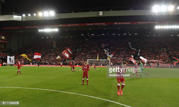 Liverpool players during The Emirates FA Cup Fourth Round match between Liverpool and West Bromwich Albion at Anfield on January 27 2018 in Liverpool...