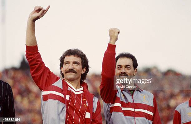Liverpool players Graeme Souness and Bruce Grobbelaar wave to the crowd before the 1984 European Cup Final between AS Roma and Liverpool Liverpool...