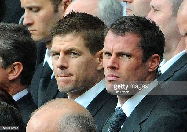 Liverpool players Jamie Carragher and Steven Gerrard attend the the Hillsborough memorial service at Anfield on April 15 Liverpool England Thousands...