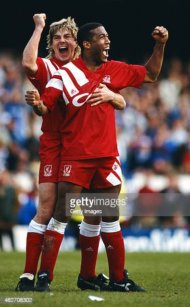 Liverpool players John Barnes and Barry Venison celebrate a late equaliser during the 1992 FA Cup semi final between Liverpool and Portsmouth at...
